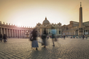 Blurred view of people walking in Saint Peters Square, Rome, Lazio, Italy
