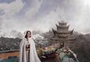 Caucasian woman standing near monument, Xining, Qinghai, China