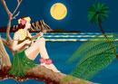 ハワイでウクレレを弾く女性の夜景イメージ