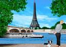イエナ橋とエッフェル塔と犬を連れた女性イメージ