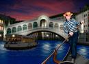 リアルト橋とゴンドラを漕ぐ男性イメージ
