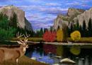 秋のヨセミテ国立公園の風景とシカイメージ