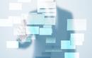 四角形とビジネスマンイメージ CG