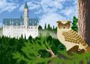 夏のノイシュヴァンシュタイン城とフクロウのイメージ