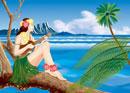 ハワイでウクレレを弾く女性のイメージ