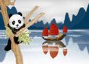 春の桂林風景とパンダのイメージ