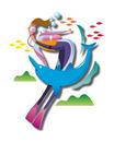 ダイビングでイルカと泳ぐ女性