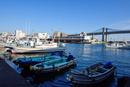 小田原漁港と停泊する漁船