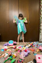Young girl making a mess while playing