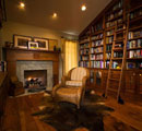 Cozy Home Library wiith Fireplace