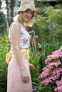 Woman in urban garden