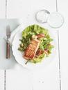 Overhead View of Salmon Salad, Studio Shot
