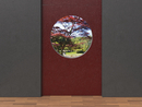 Digital Illustration of Grey and Red Concrete Walls with view through Round Window into Japanese Garden