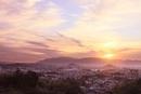 山の辺の道 天香久山、畝傍山、耳成山、二上山と夕日