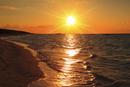 沖縄波照間島 ニシ浜と夕日に染まる海