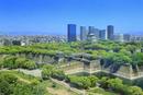 新緑の大阪城と大阪ビジネスパークのビル群