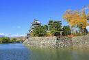 松本城天守閣に内堀と紅葉