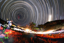 Astronomers observe polar star trails above a mountain in Ir