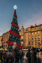 Christmas tree in town square, Cracow, Poland