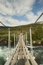 A backpacker walking on a rope bridge across a fast flowing river.