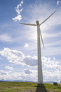 Sunny blue sky over wind turbine in field