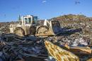 Bulldozer at garbage dump