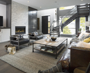 Elegant, modern home showcase interior living room and staircase