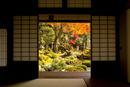 Open door with view of Japanese garden, Tsuwano, Shimane Prefecture, Japan