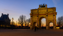 Arc de Triomphe du Carrousel at dusk, Place Charles de Gaulle, Paris, France