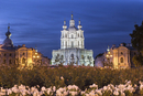 Illuminated church at night, Saint-Petersburg, Russia