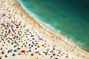 People on Portuguese beach from above, Nazare, Portugal