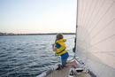 6 year-old girl sailing on the Atlantic Ocean
