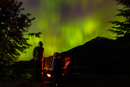 Camping with northern lights, Kaslo, British Colombia, Canada