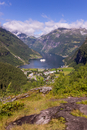 Landscape of small mountain village, Geiranger, Norway