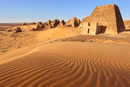 Pyramids of Meroe against clear sky
