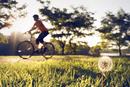 Man cycling along grass at sunset