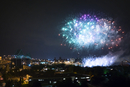 Canada, Quebec, Montreal, Fireworks over city at night