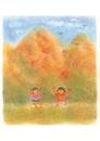 子供と紅葉の山 イラスト