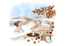 温泉に入る老夫婦