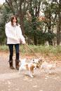 犬と散歩中の女性