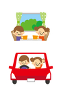 男の子と女の子 車でドライブ