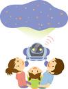 星空の映像を見せるロボット
