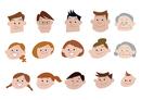 家族、親子、三世代家族の顔バリエーション