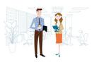 オフィスのビジネスマンとビジネスウーマン