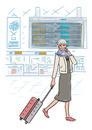 空港にいる旅行中のシニア女性