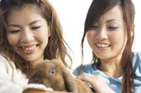 うさぎをかわいがっている女性2人 07800001263| 写真素材・ストックフォト・画像・イラスト素材|アマナイメージズ