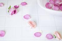 薔薇の花びらと洗面器