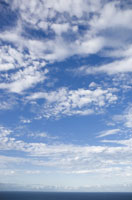雲が浮かぶ空と海