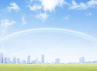 ビル群と虹