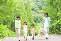 並んで歩く家族と犬